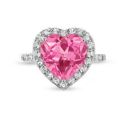 Lab-Created Heart Shaped Pink Sapphire Frame Ring in 10K White Gold with White Sapphire and Diamond Accents - View All Rings - Zales