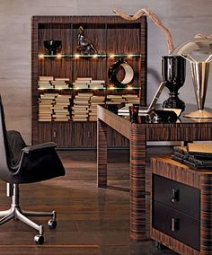 Vogue office setting complete with bookcase, desk and file cabinet. Shown in Macassar Ebony. Designer Group Collection Suite 34 in MDC