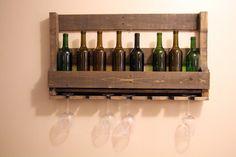 Idées de palettes, palettier vin, cadeau de pendaison de crémaillère, casier à vin, casier à vin Unique, cadeau de mariage, plateau rustique, vin étagère, decoration murale