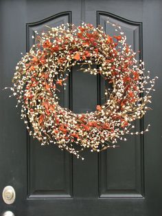 Autumn Wreath - Pumpkins and Cream Berry Wreath with Leaves for Fall Decor. $75.00, via Etsy (twoinspireyou)