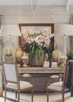 Love the scale of the lamps and florals. Pretty French entry!