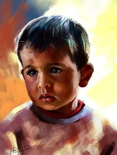 Discover Digital Art by Kiran Kumar on Touchtalent. Touchtalent is premier online community of creative individuals helping creators like Kiran Kumar in getting global visibility. Digital Paintings, Digital Art, Oil Paintings, Painting Art, Portrait Art, Beautiful Artwork, Colored Pencils, Children, Human Figures