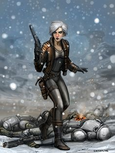 Winter the Visitor by SirTiefling female fighter rogue thief assassin mercenary armor clothes clothing fashion player character npc | Create your own roleplaying game material w/ RPG Bard: www.rpgbard.com | Writing inspiration for Dungeons and Dragons DND D&D Pathfinder PFRPG Warhammer 40k Star Wars Shadowrun Call of Cthulhu Lord of the Rings LoTR + d20 fantasy science fiction scifi horror design | Not Trusty Sword art: click artwork for source