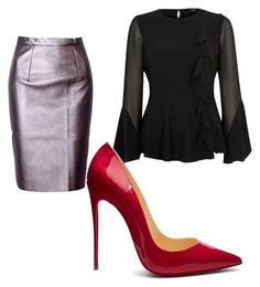 """""""Office clothing"""" by iuliana-ion on Polyvore featuring River Island, WithChic and Christian Louboutin"""