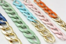 Fabulous DIY colored chained bracelets by @Kellie Dyne~Nest of Posies
