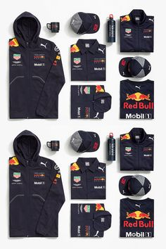 Aston Martin Red Bull Racing 2018 Teamwear Collection. As worn by the team during the 2018 F1 season. Features the team partner logos including Puma and Aston Martin.