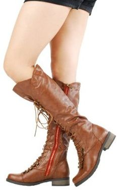 Croft17 Contrast Zipper Lace Up Riding Boots CHESTNUT