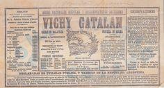 La primera etiqueta de Vichy Catalan, del año 1892.