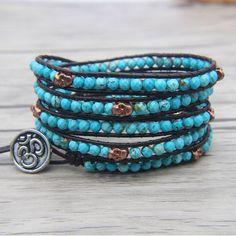 Turquoise Bracelet, Turquoise Beads, Beaded Wrap Bracelets, Beaded Skull, Black Jewelry, Gemstone Jewelry, Yoga, Leather Cord, Product Description