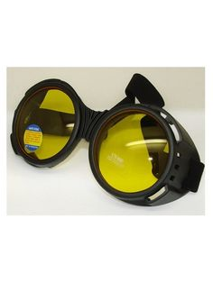 Flat Black Bugeye Cyber Goggles with Yellow Lenses