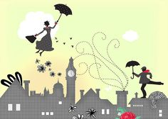 """Mary Poppins-London"" Graphic/Illustration by Elisandra Sevenstar posters, art prints, canvas prints, greeting cards or gallery prints. Find more Graphic/Illustration art prints and posters in the . Disney Kunst, Arte Disney, Disney Magic, Disney Art, Canvas Art, Canvas Prints, Art Prints, Kunst Poster, Cult"