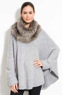MICHAEL Michael Kors Poncho with Faux Fur Trim (Plus) | Nordstrom