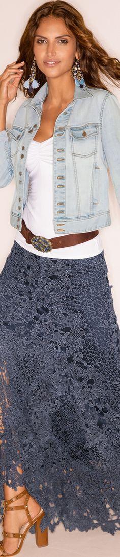 Boston Proper Lace Boho Maxi Skirt