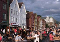 Cafe life in the harbour of Norway's second city, Bergen, by Glyn Genin