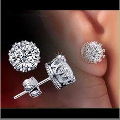 925 sterling silver crown earrings New Jewelry Earrings