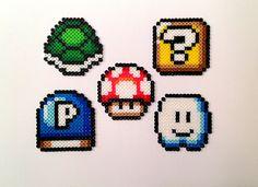 Super Mario Bros. Perler Bead Magnets (Set of 5). $10.00, via Etsy.