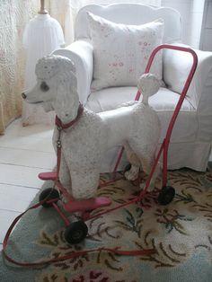 Vintage dog on wheels Triang poodle push along on etsy