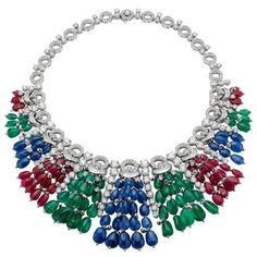 Bulgari necklace - white gold with emeralds ct, sapphires ct, rubis ct, round brilliant cut diamonds ct, baguette diamonds ct and diamond pave Jewelry Show, I Love Jewelry, High Jewelry, Jewelry Design, Unique Jewelry, Gold Jewelry, Jewelry Necklaces, Bling Bling, Bulgari Jewelry