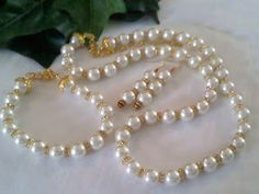 Elegant Pearl and Crystal Necklace, Bracelet, Earrings, Czech Glass, CZ , and Gold Plating. Item# 91