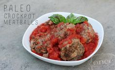 Paleo Crockpot Meatballs | OAMC from Once A Month Meals  This was absolutely amazing!!! My sister cooked a double batch overnight in the crockpot. The only change she made in the ingredients was to add 1 cup of water because the sauce was pretty thick. The recipe calls for it to cook for 4-6 hours. Ours cooked for a few hours longer with no problems.