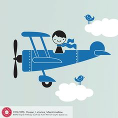 Kids Airplane Boy Vinyl Wall Decal Aeroplane by graphicspaces