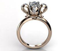 14k rose gold diamond unusual unique floral engagement ring, bridal ring, wedding ring ER-1049-3