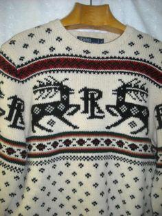Vtg Mens Ralph Lauren Polo Medium M Reindeer Christmas Sweater Wool Ski Deer Elk 117.00 Or Best Offer