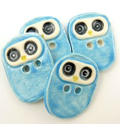 These buttons are so sweet, they have inspired me to crochet a project JUST to match them!!    Ceramic Handmade Buttons Turquoise Owl Buttons  by buttonsbyrobin, $16.00