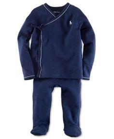 Ralph Lauren Baby Set, Baby Boys Solid Kimono Shirt and Pants