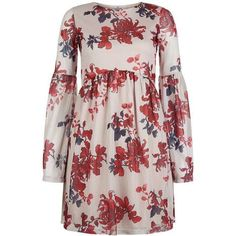 Oh My Love Bell Sleeve Smock Dress (£45) ❤ liked on Polyvore featuring dresses, smock dress, topshop dresses, bell sleeve dress, flared sleeve dress and smocked dresses