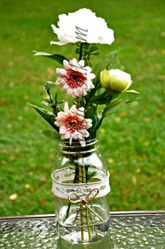 Mason jar centerpiece designed for a stylized  shoot with Melissa Crawford and Nicole Cassano Photography