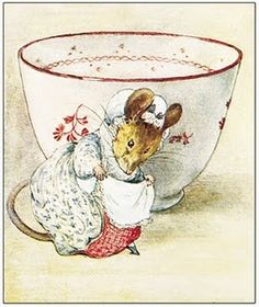 'The Lady Mouse Curtseys' 1903 -Beatrix Potter. Slightly different style - bigger eyes? Different tea cup.