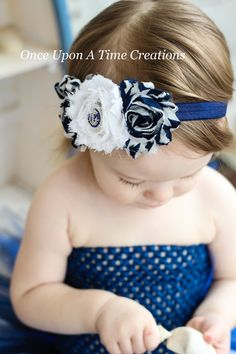 Nautical Shabby Flower Trio Headband With by OnceUponATimeTuTus, $6.99