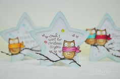 Lawn Fawn - Winter Owl, Lucky Stars, Puffy Star Stackables Lawn Cuts dies _ Vera's gorgeous shaped cards! Flickr - Photo Sharing!