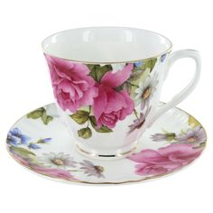 Grace's Rose Fine Bone China Tea Cup (Teacup) and Saucer Set #TeW