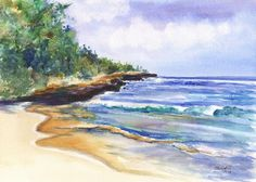 Pristine Mahaulepu Beach 5x7 Print from Kauai Hawaii teal turquoise blue sand green periwinkle on Etsy, $12.00