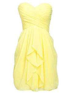 Sarahbridal Women's Short Chiffon Sweetheart Bridesmaid Dress Yellow US10 ** Learn more by visiting the image link.