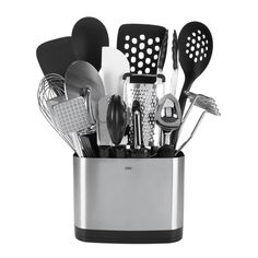 Have all your essential kitchen tools in quick reach with OXO GOOD GRIPS 15 Piece Everyday Kitchen Tool Set. With our slim-lined space efficient Stainless Steel Utensil Holder you'll be able to stor. Stainless Steel Utensils, Stainless Steel Dishwasher, Stainless Kitchen, Kitchen Tools And Gadgets, Kitchen Supplies, Do It Yourself Organization, Essential Kitchen Tools, Kitchen Utensil Set, Kitchen Dining