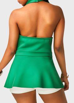 Green Halter Neck Asymmetric Hem Flouncing Blouse on sale only US$32.06 now, buy cheap Green Halter Neck Asymmetric Hem Flouncing Blouse at liligal.com