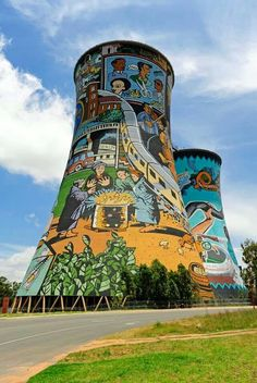 Soweto is home to two Nobel Peace Prize winners. Cooling towers near Johannesburg, South Africa. Street Art, Africa Destinations, Holiday Destinations, Out Of Africa, South Africa Art, Durban South Africa, Photos Voyages, Africa Travel, Best Cities