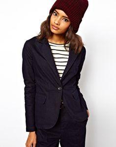 ASOS Blazer In Indigo Tweed Denim