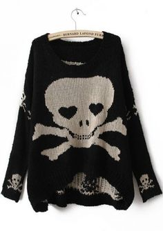 Black Long Sleeve Skull Print Pullovers Sweater pictures