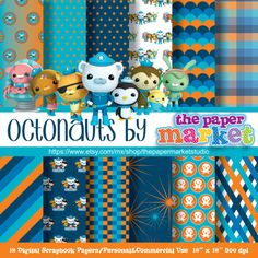 OCTONAUTS Digital Papers Polka Dot Backgrounds Characters Lines Invitations Printables