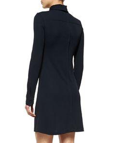 W05VT Calvin Klein Moire-Inset Mock-Neck A-Line Dress