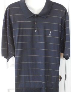 Adidas Mens Polo Shirt Claret Jug Collection  XL Navy 100% Cotton.  Very soft, nice and comfy solid navy short sleeve golf shirt with 3 button front. Straight pointed collar. Thin yellow pin stripe.#PoloRugby