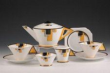 Deco tea set designed by Clarice Cliff