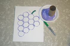 Purple Grapes - stamped with toilet paper roll