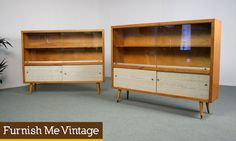2 retro atomic age bookcase display cabinets pair of blond wood mid century modern bookcases with