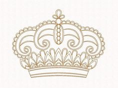 Old Crown Embroidery design Redwork Blackwork by EmbroideryByLada