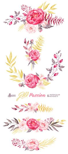 Gold Passion 6 Bouquets, Watercolor hand painted clipart, peonies, floral wedding invite, pink, greeting card, diy art, flowers, glitter